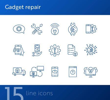Gadget repair line icon set. Wrench, gear, smartphone, computer. Digital gadgets concept. Can be used for topics like technical help, assistance, breakdown, failure