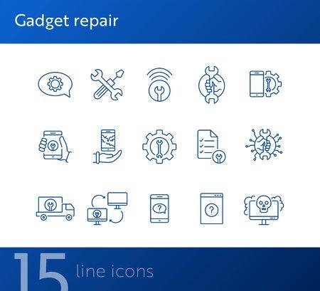 Jeu d'icônes de ligne de réparation de gadget. Clé, engrenage, smartphone, ordinateur. Concept de gadgets numériques. Peut être utilisé pour des sujets tels que l'aide technique, l'assistance, la panne, l'échec