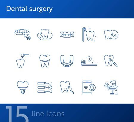 Dental surgery icons. Set of line icons. Dentist, tooth, pain. Medicine concept. Vector illustration can be used for topics like stomatology, treatment, patient