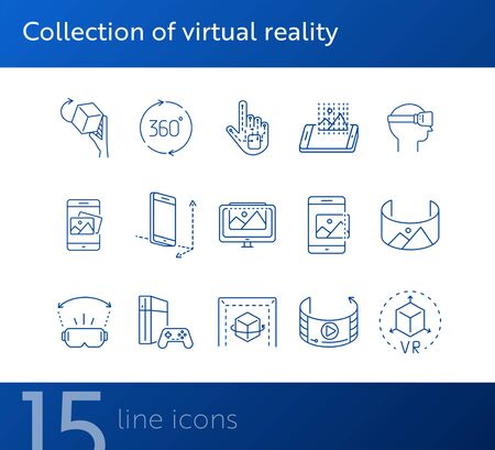Collection of virtual reality icons. Cube in hand, robotic hand, 3D modeling. Virtual reality concept. Vector illustration can be used for topics like VR, modern technologies, inventions Vektoros illusztráció
