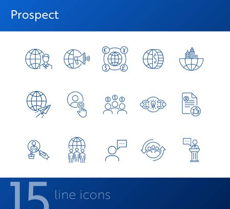 Prospect line icon set. Customer, target audience, money, globe. Business concept. Can be used for topics like global finance, investment, marketing  イラスト・ベクター素材