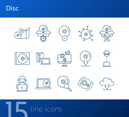 Disc icons. Set of line icons. CD scan, box for CD, setting CD. Software product concept. Vector illustration can be used for topics like application, technology, development