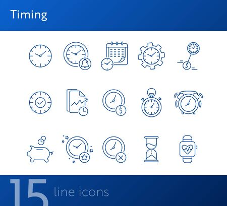 Timing line icon set. Clock, watch, gear, calendar. Time concept. Can be used for topics like time limit, schedule, time is money