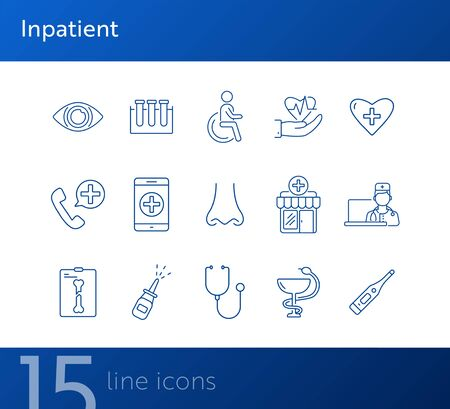 Inpatient icons. Set of line icons. Disabled person, test tubes, heart with cross. Medical aid concept. Vector illustration can be used for topics like medicine, healthcare, medical service