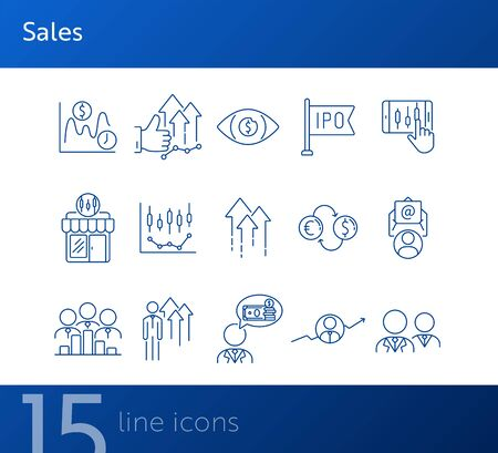 Sales line icon set. Growth, money, finances. Development concept. Can be used for topics like stock market, business, banking