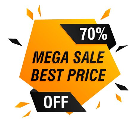 Mega sale best price offer banner design with explosion. Pentagon geometric shape vector illustration. Abstract graphic element with text. Template for promotion poster, advertising label or flyer