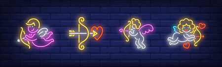 Valentines Day neon sign set. Baby Cupid arrow, bow, heart. Vector illustration in neon style, bright banner for topics like love, celebration, February