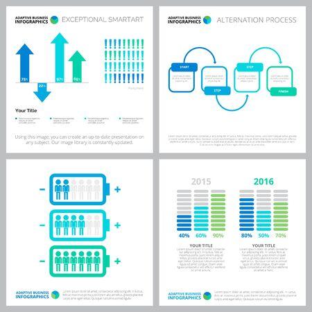 Kreative Infografiken für Webdesign, statistischer Bericht, Präsentationsfolienvorlage. Personal, Forschung, Bevölkerungskonzept. Balken-, Prozent-, Prozess-, Vergleichsdiagramme Vektorgrafik