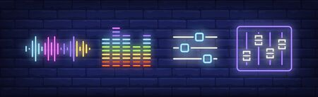 Audio technology neon sign set. Mixing console, soundtrack, soundwave. Vector illustration in neon style, bright banner for topics like music, radio, studio