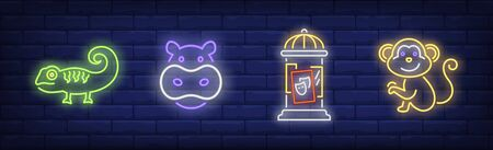 Circus animals neon sign set. Hippo, monkey, placard, iguana. Vector illustration in neon style, bright banner for topics like performance, entertainment, zoo