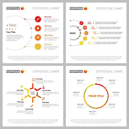 Collection of multicoloured infographic layout can be used for web design, presentation slide, report. Business and markeing concept with step, process, timing and circle charts