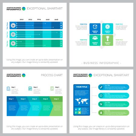 Collage of original infographic diagrams with geometric elements. Can be used for workflow layout, annual report, presentation slide, web design. Business and accounting concept with process charts