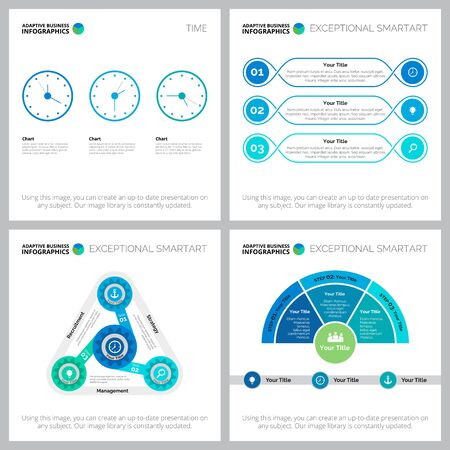 Creative charts set for web design, business project, presentation slide template. Time management, planning concept. Metaphor, timing, process, cycle diagrams