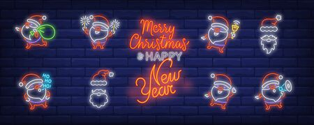 Santa Clause having fun neon sign set. Cute character carrying gifts, shouting at speaker, laughing. Vector illustration in neon style for topics like Xmas, party, holiday, celebration Illusztráció