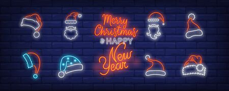 Christmas hat neon sign set. Red Santa Claus cap, beard, moustache, fur. Vector illustration in neon style, bright banner for topics like Xmas, costume, December holidays