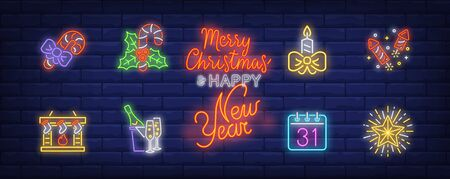 December holidays neon sign set. Candy canes, fireplace, candle, stockings. Vector illustration in neon style, bright banner for topics like Xmas, Christmas eve, New Year