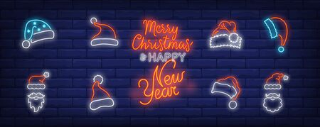 Christmas cap neon sign set. Red Santa Claus hat, beard, moustache, fur. Vector illustration in neon style, bright banner for topics like Xmas, costume, December holidays
