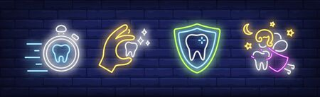 Children dentistry neon sign set. Tooth fairy, hand holding tooth, shield, stopwatch. Vector illustration in neon style, bright banner for topics like dental care, stomatology, clinic