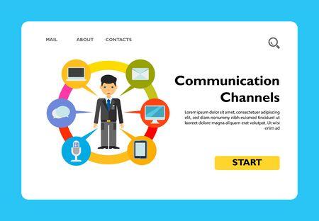 L'homme et les moyens de communication. Gadget, chat, message. Concept de canaux de communication. Peut être utilisé pour des sujets tels que la communication, la technologie, le marketing.