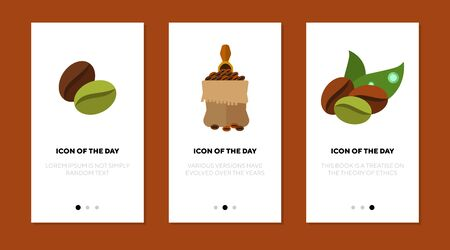 Coffee flat icon set. Green and roasted beans, sack, leaves. Coffee shop, organic coffee, production concept. Vector illustration symbol elements for web design Ilustração