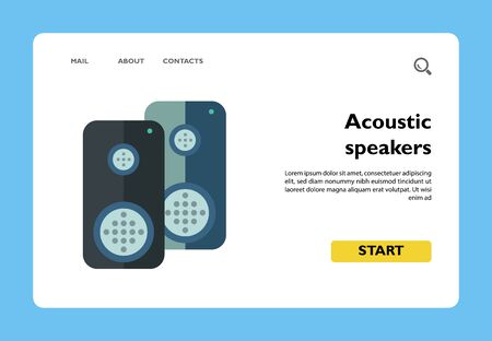 Multicolored vector icon of two acoustics speakers