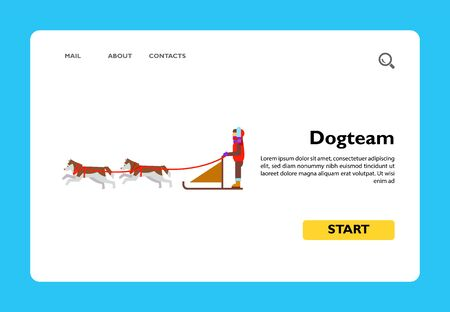 Multicolored vector icon of dogteam and sled with man ruling it Illustration