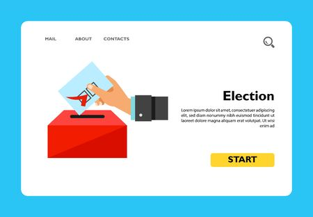 Election vector icon. Multicolored illustration of hand putting voting paper into ballot box Stock fotó - 137587809