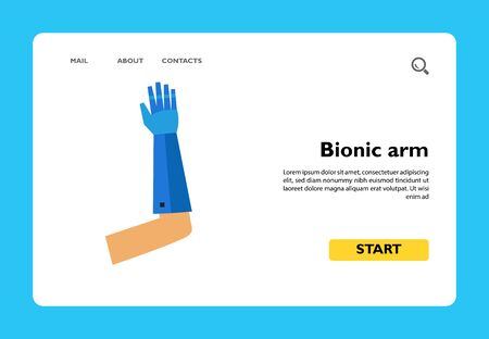 Icon of bionic arm. Mind-controlled, sense of touch, prosthetic hand. Robot concept. Can be used for topics like innovation, machine or technology