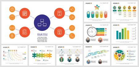 Set of creative business infographic diagrams. Can be used for workflow layout, annual report, presentation slide, web design. Business and accounting concept with flow, bar and process charts