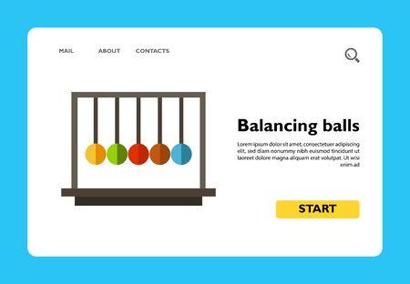 Multicolored vector icon of Newton cradle balancing balls