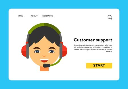 Icon of smiling person in headset. Audio, call center, operator. Customer service concept. Can be used for topics like sales, telemarketing, shopping Vetores