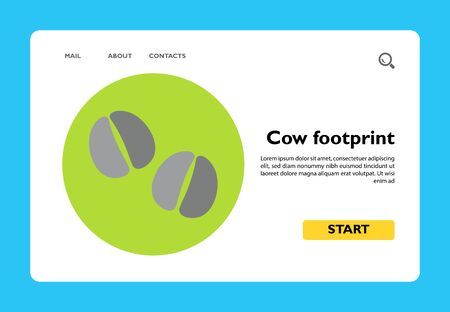 Icon of cow footprints on circle background. Domestic animal, pad, cow track. Farm concept. Can be used for topics like domestic animals, footprint, childrens book or livestock