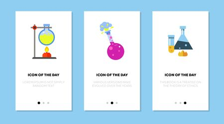 Test tubes with reagents flat vector icon set. Various experiments isolated outline sign pack. Chemistry concept. Vector illustration symbol elements for web design and apps.