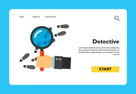 Icon of detectives hand using magnifying glass to inspect footsteps. Agent, police, investigation. Investigation concept. Can be used for topics like police work, spying or detective work Vetores