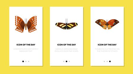 Beautiful butterflies flat vector icon set. Colorful insects isolated outline sign pack. Butterfly concept. Vector illustration symbol elements for web design and apps.