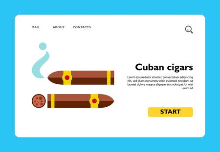 Icon of Cuban cigars. Tobacco, smoking, luxury. Addiction concept. Can be used for topics like healthcare, lifestyle, nicotine Illusztráció