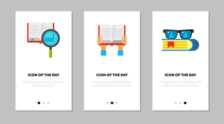 Books flat vector icon set. Book and magnifying glass, hands holding opened book, eyeglasses isolated outline sign pack. Education concept. Vector illustration symbol elements for web design and apps.