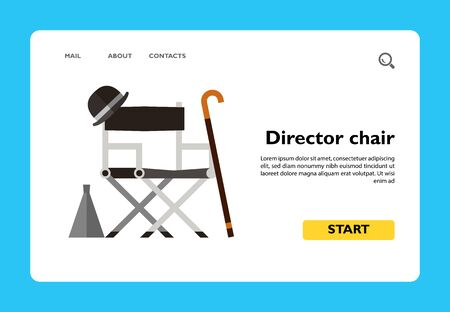 Icon of director chair with stuff. Hat, bullhorn, stick, crutch. Film production concept. Can be used for topics like filmmaking, creative occupation, cinema or theatre