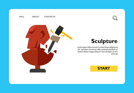Illustration of unfinished sculpture with chisel and hammer. Creating sculpture, sculptor, occupation, hobby. Art concept. Can be used for topics like art, sculpture, creativity, hobby