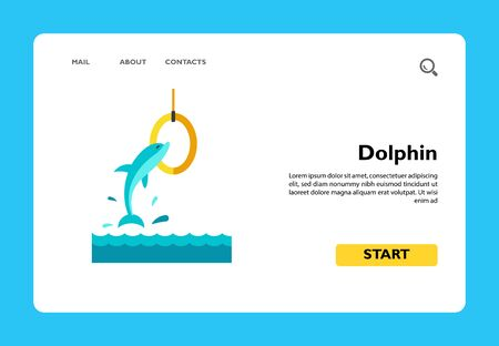 Icon of dolphin jumping in ring. Dolphinarium, aquarium, circus. Aqua park concept. Can be used for topics like leisure, entertainment, animals