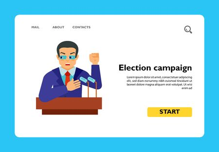 Politician holding election campaign at tribune. Oath, president, witness in court. Elections concept. Can be used for topics like politics, justice, government Ilustrace