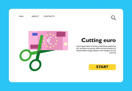 Euro banknote being cut with scissors. Crisis in European Union, decline of euro, sale in EC countries. Crisis concept. Can be used for topics like finance, banking, European economy, shopping