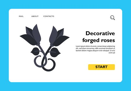 Vector icon of decorative forged roses. Decorative element, wrought iron, handmade. Iron works concept. Can be used for topics like forging, architecture, artwork 写真素材 - 137750725