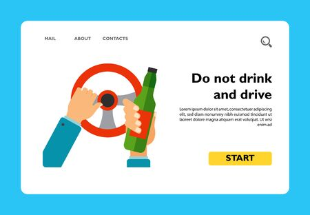 Icon of hands of driver holding steering wheel and bottle. Do not drink and drive concept, drunk driving, alcoholism. Car accident concept. Can be used for topics like transportation, road safety