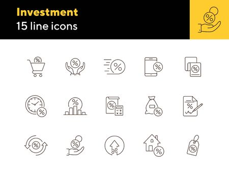 Investment icon set. Line icons collection on white background. Credit, loan, percent. Selling concept. Can be used for topics like money, finances, economy Çizim