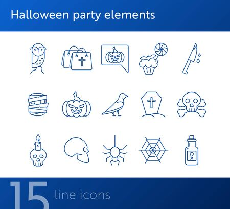 Halloween party elements icons. Skull, ghost, crow. Halloween concept. Vector illustration can be used for topics like holiday, festivals, celebration