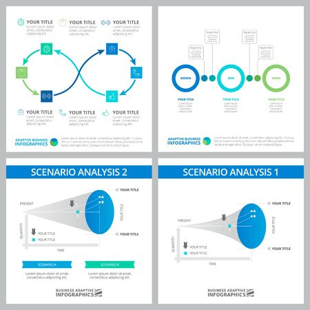 Creative graphs set for business project, marketing report, web design, presentation slide template. Analysis, planning, strategy concept. Cycle, process, option, line charts Illustration