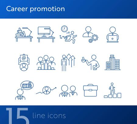 Career promotion line icon set. Employee, workplace, office building. Career concept. Can be used for topics like professional, leader, office worker