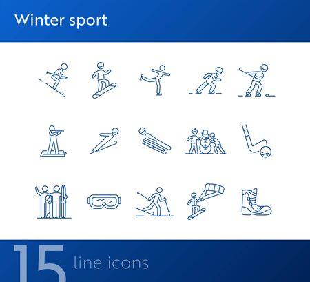 Winter sport thin line icon set. Skating, biathlon, bobsleigh sign pack. Winter sports concept. Vector illustration symbol elements for web design and apps Vektorgrafik