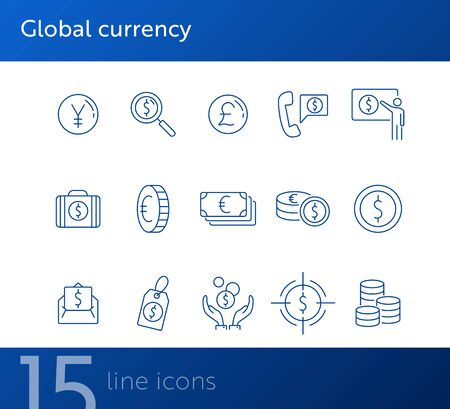 Global currency icon set. Dollar, cash, tax. Finances concept. Can be used for topics like converting money, trade, economy  イラスト・ベクター素材